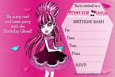 Browse fun free printable birthday party invitations for girls featuring princesses, ballerinas, Barbie doll, Disney princess, Monster High and more!