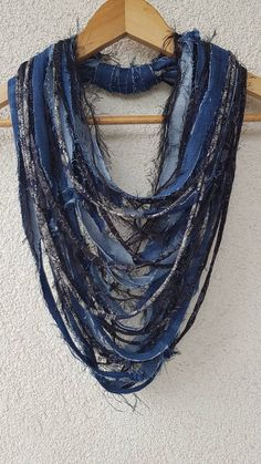Denim Scarf Jeans Necklace Fabric Jewelry Textile Denim Necklace Loop Infinity Scarves Reused Recycled Jeans Necklace One of a kind Jewery Yarn Necklace, Fabric Necklace, Scarf Jewelry, Fabric Jewelry, Necklaces, Jewellery, Denim Ideas, Denim Crafts, Recycle Jeans
