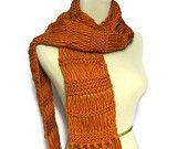 Pumpkin-ish Orange Hand Knit Scarf