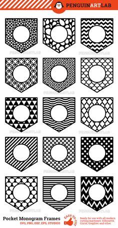 Shirt Pocket Monogram Frames - SVG Cut Files for Electronic Vinyl Cutters: Cricut, Silhouette, Scree Cricut Monogram, Monogram Shirts, Monogram Frame, Cricut Vinyl, Embroidery Leaf, Embroidery Monogram, Diy Vinyl Projects, Silhouette Cameo Projects, Cricut Creations