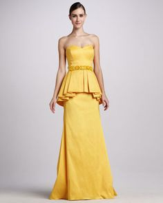 Badgley Mischka Strapless Peplum Gown with Beaded Waist - Neiman Marcus Strapless Cocktail Dresses, Gala Dresses, Strapless Dress Formal, Nice Dresses, Peplum Gown, Floor Length Gown, Yellow Fashion, Mellow Yellow, Badgley Mischka
