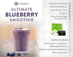 Ultimate Blueberry Smoothie using It Works Ultimate Profit (vanilla) and Greens (berry). This antioxidant rich, energy-packed smoothie is a great way to start your day. Greens provide you with 8 servings of fruits & vegetables. Protein Shakes, Protein Shake Recipes, Smoothie Recipes, Healthy Shakes, Protein Bars, It Works Global, Profit Recipes, It Works Shakes, Smart Protein
