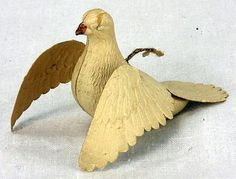 Antique German Dresden Flying Dove Christmas Ornament ca1910.
