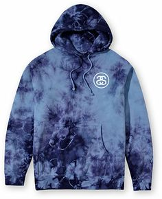 Stussy Storm No 4 Blue Tie Dye Pullover Hoodie at Zumiez : PDP