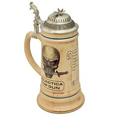 "The ""Top Gun"" beer stein from Battlestar Galactica. This stuff is why I don't have any money."