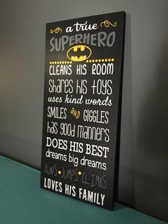 Batman Wood Sign a true Superhero: Wood Sign by CherryChipCafe
