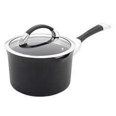Circulon Symmetry Hard Anodized Nonstick 3-1/2-Quart Straining Saucepan, Black