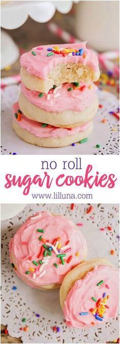 Super easy and delicious NO ROLL Sugar Cookies with a delicious frosting. No rolling pin needed for these - just drop and bake! Super easy and delicious NO ROLL Sugar Cookies with a delicious frosting. No rolling pin needed for these - just drop and bake! Drop Sugar Cookie Recipe, Amish Sugar Cookies, Drop Sugar Cookies, Drop Cookie Recipes, Cocoa Cookies, Sugar Cookie Frosting, Soft Frosted Sugar Cookies, Spritz Cookies, Baking Cookies