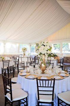Photographer: Nicolette Moku Photography; Sophisticated black, white and gold wedding reception;