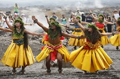Kahiko is my favorite style of hula.  This amazing photos looks like they were performing at the Kiluea volcano!