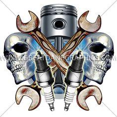 Mechanic Skulls   Production Ready Artwork for T-Shirt Printing