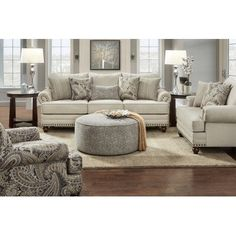 2820 Cary's Doe Traditional Sofa with Nailhead Trim by Fusion Furniture at Great American Home Store Coastal Living Rooms, Formal Living Rooms, Living Room Grey, Home And Living, Cozy Living, Cottage Style Living Room, Romantic Living Room, Country Living, Elegant Living Room