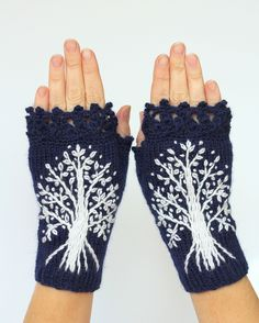 Hand Knitted Fingerless Gloves, Dark Blue, White Trees, Gloves & Mittens, Gift Ideas,For Her, Winter Accessories,MADE TO ORDER In Your Color de nbGlovesAndMittens en Etsy https://www.etsy.com/es/listing/249994105/hand-knitted-fingerless-gloves-dark-blue