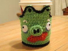 The Crochet Mommy: Angry Birds Coffee Cozy Crochet Pattern - Red Bird, Green Mustache Pig
