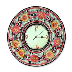 Leather Puppetry Handpainted Pink Floral Clock