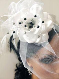 White Wedding Hat Bridal by CameronsJewelryBox