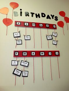 Elementary Classroom - Birthday Wall - Classroom Birthdays - Student Birthdays - Red, White, Black Classroom - Classroom Décor