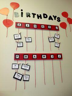 Elementary Classroom - Birthday Wall - Classroom Birthdays - Student Birthdays - Red, White, & Black Classroom - Classroom Décor