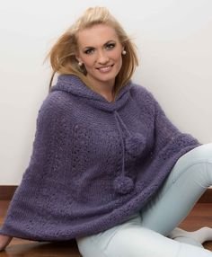 Knitting Patterns Mohair Free Knitting Pattern for a Mohair Lace Poncho. Lace poncho with hoodie and pomp. Easy Scarf Knitting Patterns, Free Knitting Patterns For Women, Crochet Baby Hat Patterns, Lace Knitting, Sweater Patterns, Hat Crochet, Knit Patterns, Crochet Pattern, Stitch Patterns