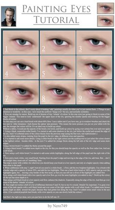 Painting Eyes Tutorial by on deviantART Digital Painting Tutorials, Digital Art Tutorial, Painting Tips, Art Tutorials, Illustration Techniques, Drawing Techniques, Eye Tutorial, Photoshop Tutorial, Digital Portrait
