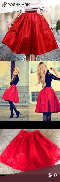 Red Midi Skirt Red circle midi skirt, satin material, size medium. Looks so pretty on. Smoke and pet free home ! Skirts Midi