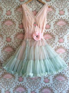 seafoam green & ballerina pink chiffon pin by mermaidmisskristin