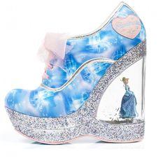 Irregular Choice I Cinderella 'Call me Cinders', blue, wedge with Cinderella figurine
