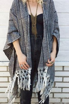 heavy woven winter kimono cardigan