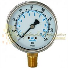 "Part #RV132A3N312KG Series 7211, 1/4"" NPT Bottom Connection, 2 1/2"" Gauge Size, 0-160 PSI, Liquid Filled Gauge."