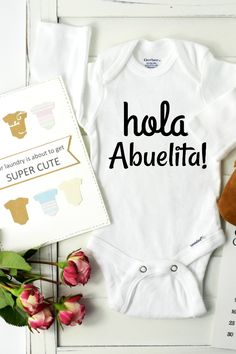 Baby announcement onesie personalized baby gift personalized a spanish baby announcements negle Images