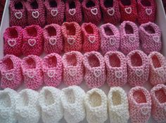 Girl baby shower decorations: 4 pairs hand knit pink/ white/ cream mini booties decorations with cute pearlised hearts - 2 inches on Etsy, $17.00