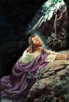 ....in the garden, suffering. I love the Sorrowful Mysteries the most, because Jesus suffered psychologically the most during his Agony in the Garden. He knew His Hour had come and the devil prevoked him so much during this moment...evil did not prevail. And it never will. Thank You, Jesus. I love you so!