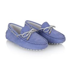 Tods Girls Lilac & Silver Threaded Suede Moccasins