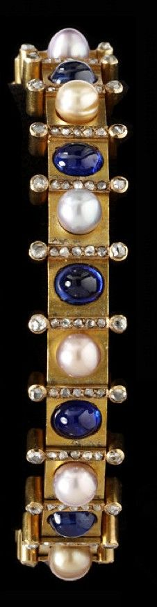 1890 Bracelet Gold, Sapphires, Pearls, and Rose-Cut Diamonds, St. Diamond Bracelets, Bangle Bracelets, Bangles, Bracelet Or, Victorian Jewelry, Antique Jewelry, Vintage Jewelry, Pearl Jewelry, Jewelery