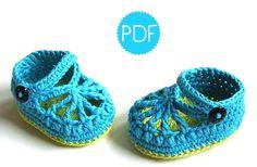 Instant Download - Crochet Pattern - BlueGreen Baby Loafers - PDF ebook No. 34