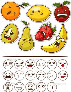 Funny Fruit with Expression - Food Objects