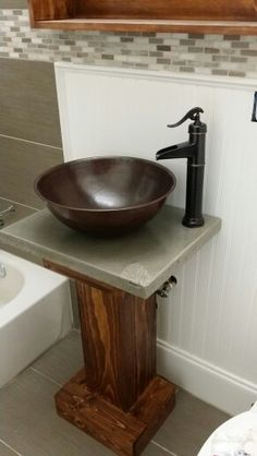Rustic vessel sink vanity