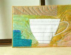 White Teacup, Fabric Postcard, Quilted Textile