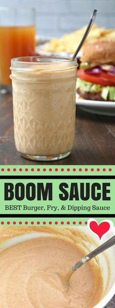 """Boom Sauce Recipe an easy burger and fry sauce recipe that is great on other things like sandwiches chicken salads and even fish! My family also calls this addictive sauce our """"secret sauce"""" because we use it as a dipping sauce for just about everything! Burger Sauces Recipe, Sandwich Sauces, Sauce Recipes, Cooking Recipes, Fries Recipe, Sandwich Recipes, Recipe Recipe, Chicken Sandwich, Secret Sauce Recipe"""