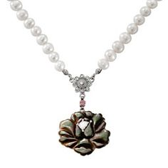 Mother of Pearl Rose Necklace with Saltwater White Pearl Chain Mother Of Pearl Rose, Mother Of Pearl Necklace, Rose Necklace, Asian Store, Wood Floor Lamp, Hanging Paintings, Floor Lamp Shades, Pearl Chain, Compact Mirror