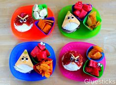 I wasn't sure if I was going to share this since they are the craziest little angry bird sandwiches ever, but the Cute Snacks, Healthy Snacks For Kids, Cute Food, Yummy Snacks, Good Food, Yummy Food, Kid Snacks, Yummy Yummy, Kids Cooking Recipes