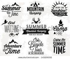 Summer Camping Vector Calligraphy Design Elements in Retro style by butterflycreative, via ShutterStock