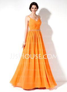 Bridesmaid Dresses - $125.99 - A-Line/Princess V-neck Floor-Length Chiffon Bridesmaid Dresses With Ruffle Beading (007022551) http://jjshouse.com/A-Line-Princess-V-Neck-Floor-Length-Chiffon-Bridesmaid-Dresses-With-Ruffle-Beading-007022551-g22551