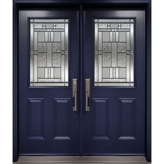 Double entry door from Classic Collection with Cachet decorative glass inserts from our Glass Collection. Steel or fiberglass door construction available. Unique Front Doors, Double Front Doors, Glass Front Door, Front Door Decor, Front Entry, Door Entry, Glass Doors, Metal Garage Doors, Diy Garage Door