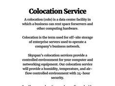 Colocation Service by Skyspan Wireless.