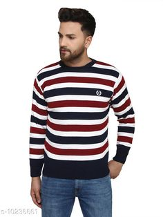 Checkout this latest Sweaters Product Name: *Kvetoo Navy Round Neck Sweater Single* Fabric: Acrylic Sleeve Length: Long Sleeves Pattern: Colorblocked Multipack: 1 Sizes: S, M (Chest Size: 27 in, Length Size: 38 in)  L (Chest Size: 27 in, Length Size: 40 in)  XL Country of Origin: India Easy Returns Available In Case Of Any Issue   Catalog Rating: ★4.2 (757)  Catalog Name: Urbane Graceful Men Sweaters CatalogID_1854304 C70-SC1208 Code: 084-10236661-069