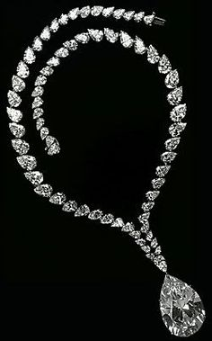 The Taylor-Burton diamond necklace consisting of 67 pear shaped diamonds with the central diamond of 69.42 carats. The necklace was made for Cartier in 1969