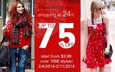 Romwe Spring Festival Sale  Over 1000 styles, up to 75% off Start from $3.99 Time: 2/4/2014 ---2/11/2014 Don't miss it, girls!  SHOP HERE > http://www.romwe.com/SPRING-FESTIVAL-SALE-c-436.html?HOTFUNSTUFFS