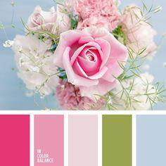 бледно-розовый, голубой, зеленый, контрастный голубой, малиновый, оттенки розового, палитра цветов для интерьера, подбор цвета, цвет зеленых листьев, цвет роз, цвет розовых роз, яркий розовый.