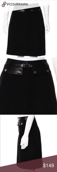 "Auth Gucci black leather skirt leather detail sz 8 Authentic Black Gucci wool knee-length skirt with leather waistband featuring flap accents at front and concealed zip featuring snap closure at center back. Euro 44 Waist: 28"" Hip: 38"" Length: 21"" Very Good Condition Light wear  100% Wool with leather trim waist Gucci Skirts"